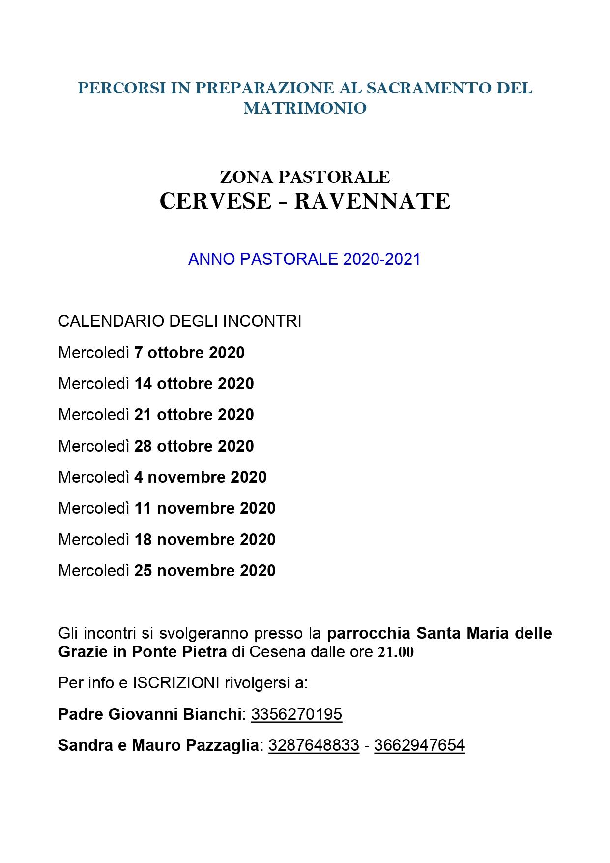 ZONA CERVESE RAVENNATE_INCONTRI PRE MATRIMONIALI_2020-2021