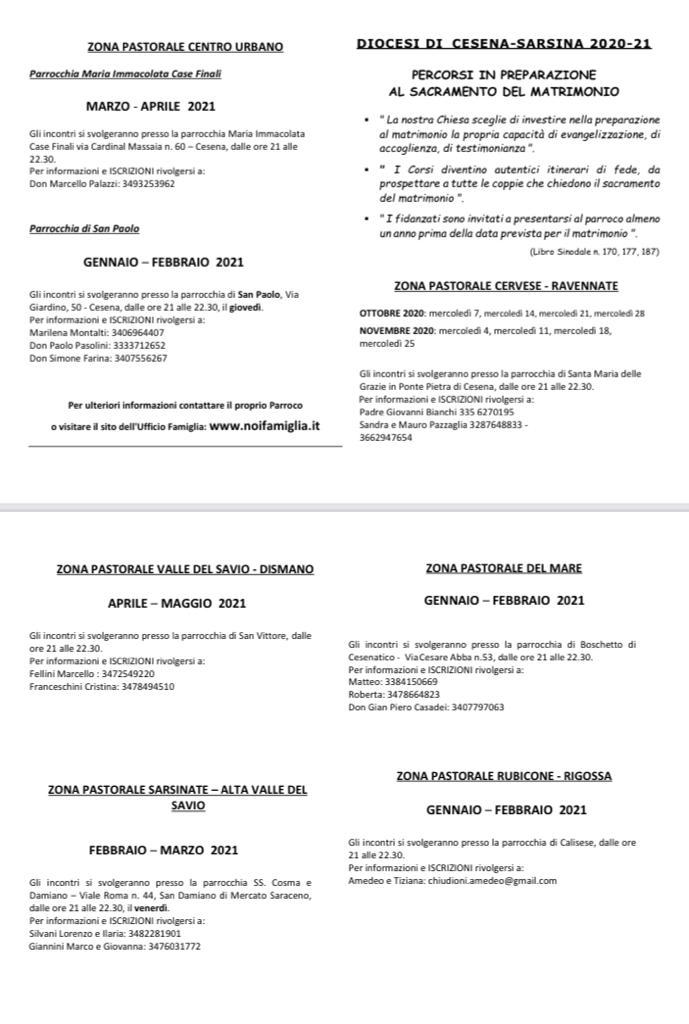CORSI PREMATRIMONIALI 2020-2021